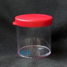 Kelímok 70 ml priesvitný+červený uzáver