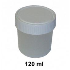 Kelímok 120ml priehľadný+uzáver biely skrutkovací
