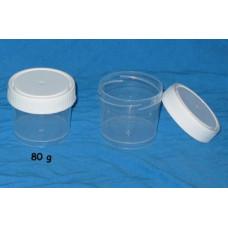 Kelímok 80ml priehľadný +uzáver biely skrutkovací